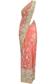 Powder pink gold thread embroidered sari with gold blouse available only at Pernia's Pop-Up Shop.