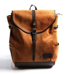 """Genuine Leather City Backpack 15"""" Laptop"""