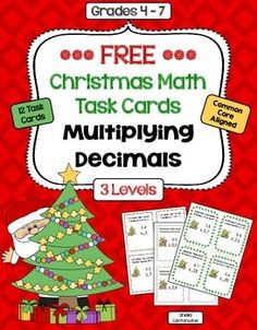 These 12 Christmas themed task cards cover Multiplying Decimals.  This is a smaller version of my Math Task Card Sets and is very similar to the task cards in the Christmas Math Task Card Bundle.  Questions include:* 2.4 x 2* 6.5 x 0.5* 7.8 x 1.7These task cards are differentiated and include 3 different levels: * Level 1 is Basic * Level 2 is Intermediate * Level 3 is AdvancedEach level contains 4 task cards for a total of 12 different task cards.