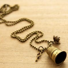 Brass Thimble Necklace - this one is for the sewing diva!  #nostalgems #necklace #handcrafted #handmadejewellery #handmadejewelry #jewellery #jewelry #vintage #vintagestyle #sewing #sewers #thimble