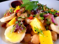 Chickpeas, Banana and Mango with Chilli and Coriander