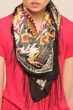 Great patterned scarf that I really want to wear. Aztec Print Fringe Scarf - $50.00 @ Shoptiques.com.