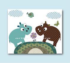 Hippopotamus Nursery Room Art for Kids Room Kids by artbynataera