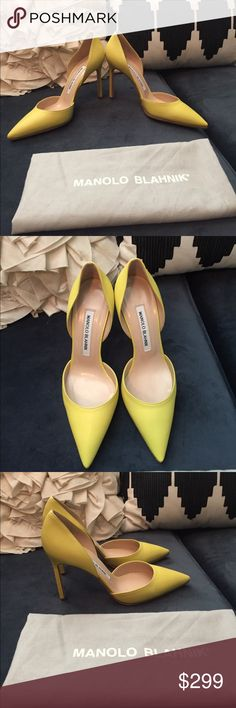 NEW Manolo Blahnik Tayler d'Orsay pump yellow Brand new, never worn.  Soles have had grip applied professionally.  PLEASE READ: I've recently listed a TON of designer items for my aunt.  For this reason, please respect these parameters - REASONABLE offers will be considered.  Please use OFFER button - I will NOT reply to any requests for email, merc, PP.  All transactions & communication will take place on PM only - YES, all items are AUTHENTIC - You will receive everything shown in the…