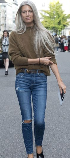 Sarah Harris: Casual luxe. A brown knit paired with some ripped denim jeans is a great weekend outfit.