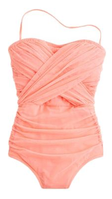 J. Crew tulle bandeau tank swimsuit - I would add wide cross cross straps though.