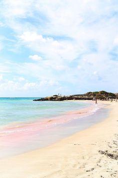 Pink sand beach, Crete, Greece