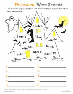 Worksheets: Halloween Word Scramble 1st grade