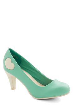 Follow My Heart Heel in Mint - Mid, Faux Leather, Mint, White, Solid, Party, Girls Night Out, Daytime Party, Valentine's, Darling, Better, Variation