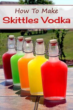 Infusing vodka with Skittles makes for a fun, tasty treat. There are a couple of different ways to do it. My way involves separating all the Skittles into their separate flavors and making five different bottles of Skittles vodka. #vodkadrinks