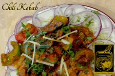 Chili Kebab ~ Lamb Seekh Kebab pieces cooked in a sauce with fresh green peppers, onions, tomatoes and spices Best Butter, Indian Food Recipes, Ethnic Recipes, Butter Chicken, Fresh Green, Stuffed Green Peppers, Japchae, Onions, Tomatoes