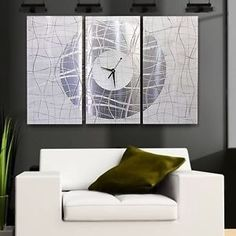 Large Modern White Silver Metal Abstract Wall Clock Contemporary Vibrations | eBay
