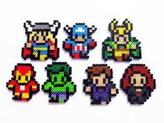 Marvel The Avengers and Loki Perler Sprites  by ShowMeYourBits