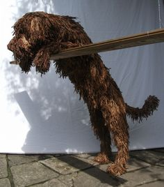 Big Brown Dog a Rope Sculpture by Dominic Gubb at Stockbridge Gallery