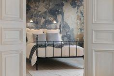 modern einrichten schlafzimmer patina effekt wandfarbe