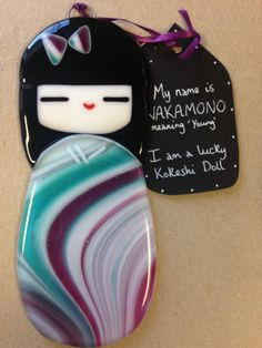 Wakamono Glass Kokeshi Doll Japanese Inspired Handmade