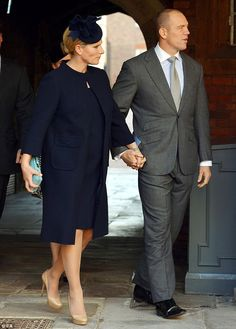 Zara and Mike Tindall, pictured at the Chapel Royal in St James's Palace, for the christening of Prince George in 2013