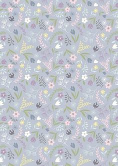 Swallows Floral Lavender - Cotton