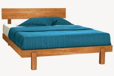 Skyline Natural Cherry Wood Platform Bed Frame