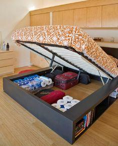 Elegant Queen Size Platform Bed with Storage Underneath The Mattress