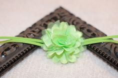 Tinkerbell Green Satin/Tulle Seraphina Flower on a Skinny Headband or Hair Clip, Newborn, Infant, Baby, Toddler, Girl and Adult Headband on Etsy, $4.95