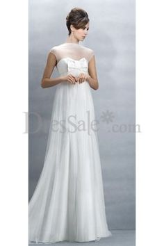 Brilliant Empire Plus Size Wedding Dress with Sleeves Features Illusion Neck and Pretty Bow Tie Detai