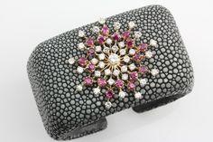 Brooch mounted on a shagreen cuff bracelet- Camilla Dietz Bergeron