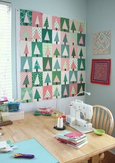 Modern Christmas Tree Quilt Block Tutorial