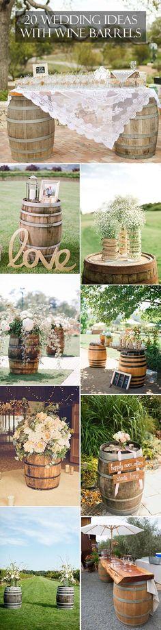 Wedding wine barrels for wedding reception or ceremony