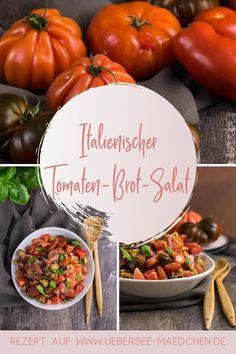 Salat perfekt im Sommer zum Grillen: Tomaten-Brot-Salat alias italienischer Brotsalat Panzanella. Schnell und einfach aber doch besonders: Rezept mit gerösteten Brotwürfeln besonders knusprig und mit einem Kapern-Dressing besonders würzig. | Recipe for Italian panzanella: tomato-bread-salad with roasted ciabatta plus a dressing with capers.