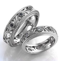 Filigree Silver Wedding Bands Vintage style by WorldOfGold on Etsy