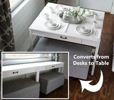 The DIY convertible desk can be used as desks for working during the day, and it could also function as a breakfast bar for morning meals.
