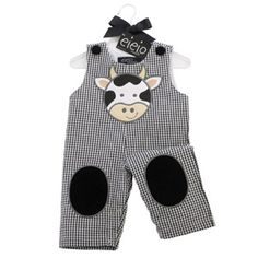 gingham overalls and cow applique