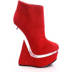 Red suede embroidered heel less curved wedge bootie ($19) ❤ liked on Polyvore featuring shoes, boots, ankle booties, red, platform wedge bootie, suede wedge bootie, platform ankle boots, tall suede boots and red booties