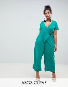 ab285d2b50a2b DESIGN Curve Wrap Jumpsuit With Horn Button And Culotte Leg. Plus Size ...