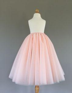 07770e81a Flower girl tutu, long tulle skirt, light blush tutu, long tulle skirt ANY  COLOR