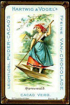 """German Costumes - Spreewald    Hartwig & Vogel Chocolate (Dresden)  c1900 German Regional Costumes.  """"Spreewald"""" #Spreewald"""
