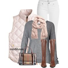 Pink Quilted Vest by wulanizer on Polyvore featuring polyvore, мода, style, J.Crew, Paige Denim, Burberry, Kenneth Jay Lane and H&M