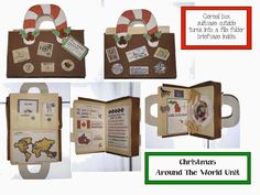 """Classroom FREEBIES: Christmas Around The World Packet...This Christmas Around the World packet is a wonderfully fun way to teach geography and practice all sorts of other standards. Everything is stored in this really cute cereal box """"suitcase"""".  I've included """"stickers"""" so your kiddos can decorate theirs as well."""