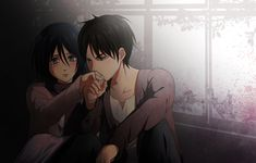 As adorable as this is it's more amusing than anything; I mean Eren looks sooo angry about kissing Mikasa's hand!