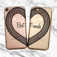 The perfect gift for your best friend! This clear phone case set is available for iPhone 7 Plus, iPhone 6s, Samsung Galaxy S7, S6 Edge, S8 and more! Mix and Match devices. ************************* TO ORDER: Choose your devices. Then, in the notes section at checkout, let us know your desired color (black or white) and well print in that color. ************************* ★ ★ ★ ★ ★ >>> Shop MORE Best Friend Cases Here: https://www.etsy.com/shop/ArlaLaserWorks?re...