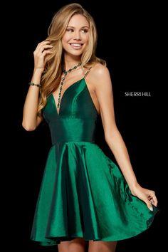d65bd5277c8 Size 00 Emerald-Sherri Hill 52155 is a deep sweetheart neck taffeta short  party dress. French Novelty
