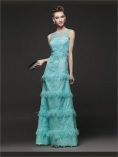 Green Column Lace 2014 Prom Dresses