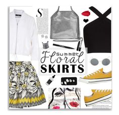 """Summer Floral Skirts"" by jafashions ❤ liked on Polyvore featuring STELLA McCARTNEY, TIBI, Alice + Olivia, BCBGMAXAZRIA, Converse, LULUS, Urban Decay, Trish McEvoy, Oliver Gal Artist Co. and Little Barn Apothecary"
