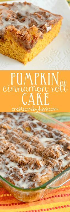 Pockets of cinnamon sugar make this Pumpkin Cinnamon Roll Cake one of the best pumpkin cakes you will ever eat! If you love cinnamon rolls or pumpkin spice, you will love this pumpkin cake! Pumpkin Cake Recipes, Pumpkin Cakes, Pumpkin Dessert, Pumpkin Foods, Pumpkin Breakfast, Dessert Simple, Fall Desserts, Just Desserts, Layered Desserts