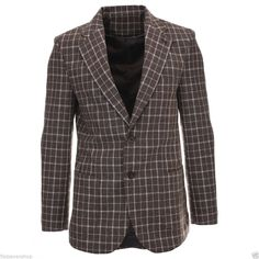 FLATSEVEN Mens Slim Fit Checked Plaid Wool Blazer Premium Jacket (BJ903) #FLATSEVEN #BasicJacket