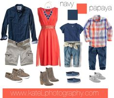 Papaya + Navy // Family Outfit