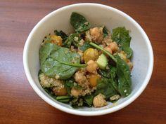 Quinoa, garbanzo, and spinach salad