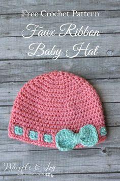 Free Crochet Pattern   Faux Ribbon Baby Hat.