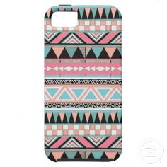 Andes Teal & Pink Pastel Abstract Aztec Pattern iPhone 5 Case